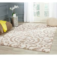 8 X 12 Area Rug Safavieh Florida Shag Ornate Beige Damask Area