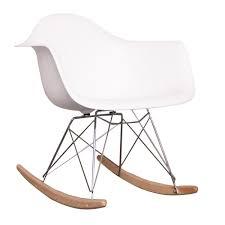 eames style dining rocking rar arm chair white