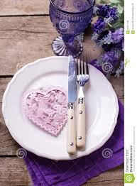 summer table setting blue and violet flowers pink heart kni