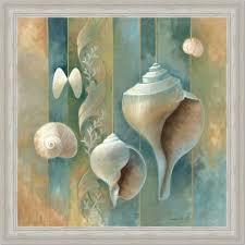 Spa Art For Bathroom - amazon com blue seashells bath room spa decor ii art print framed