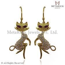 gold earrings in shape diamond ruby new cat shape gold earrings 14k gold diamond