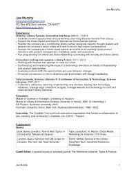 Sample Librarian Resume by Cv Joe Murphy Librarian Resume