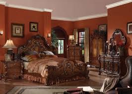 sleigh bedroom set queen acme 12140q dresden 4pcs cherry oak queen sleigh bedroom set