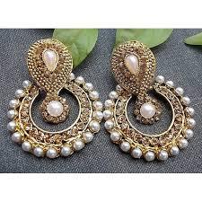 craftsvilla earrings buy craftsvilla golden pearl polki earring online craftsvilla