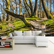 popular forest wall mural buy cheap forest wall mural lots from natural autumn scenery 3d wall mural wallpaper landscape forest deer custom personalized wall paper mural study