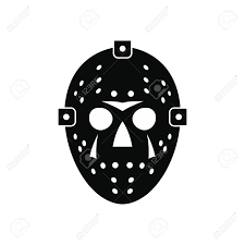 halloween white background halloween hockey mask black simple icon isolated on white