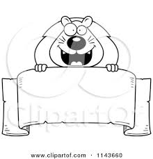 banner coloring pages cartoon clipart of a black and white lion over a banner vector