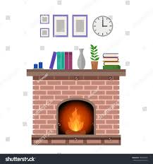 cozy interior traditional fireplace fire decorations stock vector