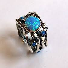 blue opal engagement rings blue opals boho ring made from sterling silver and
