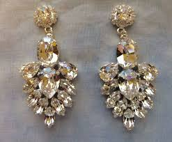 wedding earrings chandelier navy blue swarovski embellished teardrop dangle earrings
