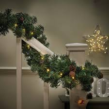 outdoor pre lit christmas garland with pine cones connectable 50