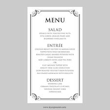 templates free printable bridal shower menu templates plus