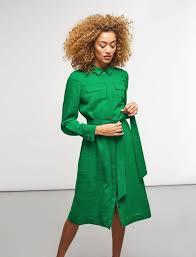 collared long sleeve shirt dress emerald green cefinn