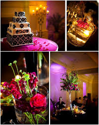 black and white damask wedding cake purple and green high topiaris