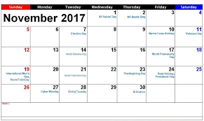 november 2017 calendar with holidays india usa uk canada