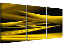 Yellow Black Room 3 Part Yellow And Black Abstract Canvas Prints 3257