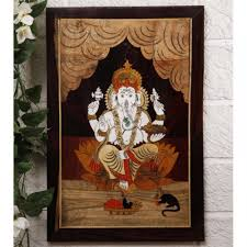 buy unravel india ganesha wooden inlay wall painting in india
