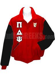 pi delta psi varsity letterman jacket with greek letters and crest
