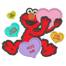 elmo valentines like elmo with big heart hug me forever applique machine