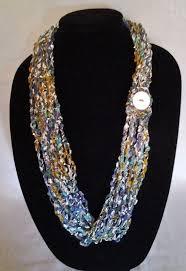 ladder ribbon blue teal gold and white chain crochet ladder ribbon yarn
