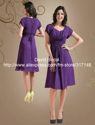 purple dresses for weddings knee length modest yh091 lace up back sleeve chiffon knee length