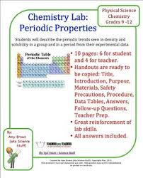 the periodic table lab answers periodic properties lab determine periodic trends from lab data