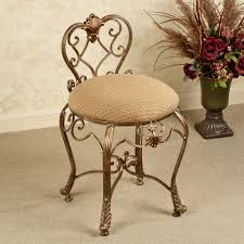 Bathroom Vanity Chairs Bathroom Classic Gold Polished Wrought Iron Vanity Chair With