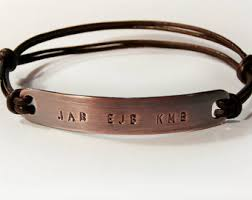 mens personalized bracelet men leather bangle etsy