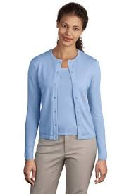 light blue cardigan sweater port authority signature ladies fine gauge crewneck cardigan
