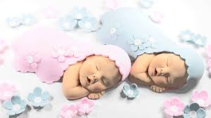 twins baby cake topper with blue u0026 pink blanket and flowers