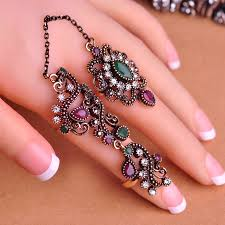 finger rings pictures images Blucome new arrival adjustable turkish two finger rings for party jpg