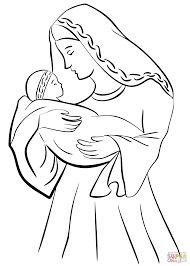 mother mary with baby jesus coloring page free printable