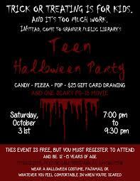 public halloween party teen halloween party flyer city of granger