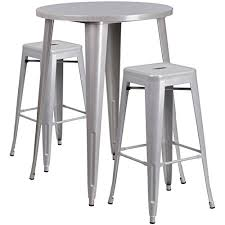 silver metal bar table flash furniture 30 round silver metal indoor outdoor bar table set
