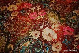 Graphic Upholstery Fabric Wb135 Boho Chic Bright Floral Paisleys Flowers Leaves Blossoms