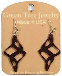 green tree earrings tree jewelry ribbon twirl black satin color wood wooden laser cut