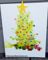 straw painted christmas tree craft