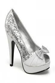 silver glitter pleated satin strap bow tie peep toe heels heel