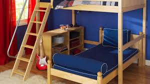 white wood twin over full bunk beds with stairs and trundle u2014 all