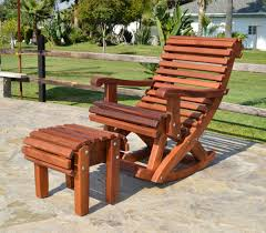outdoor wooden rocking chair with built in lower back support