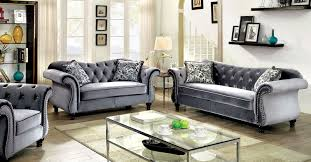 cheap sofa and loveseat sets jolanda collection gray flannelette button tufted nailhead trim 2