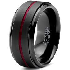 Mens Tungsten Wedding Rings by Tungsten Wedding Band Ring 10mm For Men Women Red Black Beveled