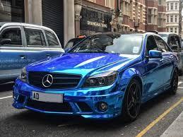 blue mercedes mercedes c63 amg chrome blue wrap wrappingcars