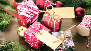 wrapped christmas boxes christmas gifts wrapped in brown paper with ribbons stock