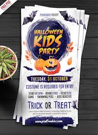halloween kids party invitation card psd psdfreebies com