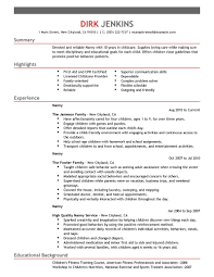 Teenage Resume Template Nanny Resume Template Resume Cv Cover Letter