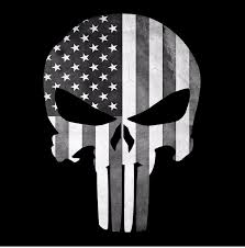 White American Flag Punisher Skull American Flag Black And White Decal Sticker