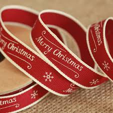 east of india merry christmas ribbon red with snowflake xmas