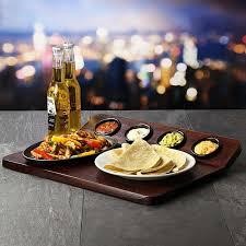 oven to table platter fajita serving board w sizzle platter 4 ramekins present