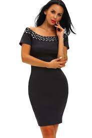 black boat neck rhinestone decor short sleeve bodycon dress